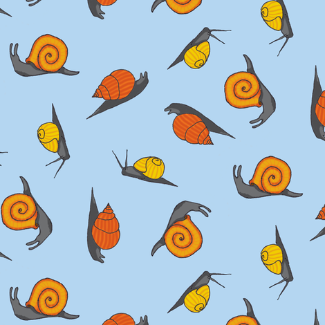 Snails - ditsy scattered fabric by victorialasher on Spoonflower - custom fabric