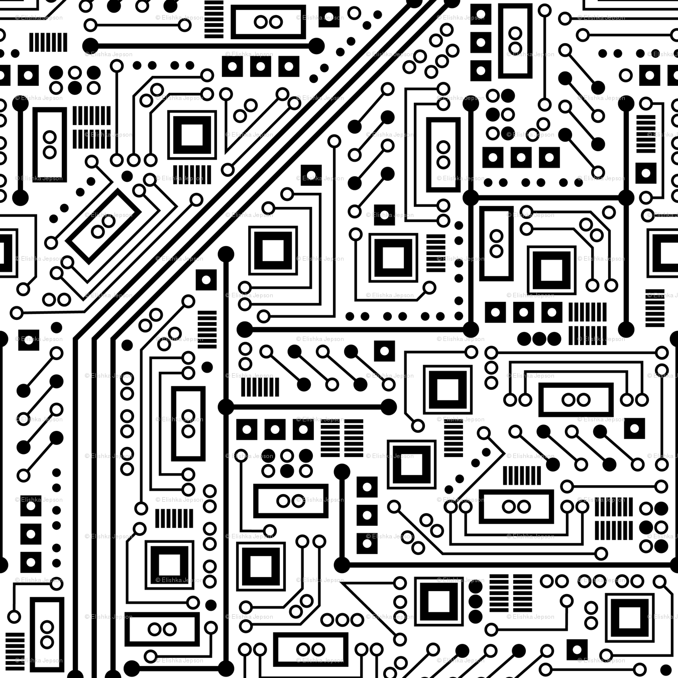 Robot Circuit Board (Black and White) fabric - robyriker - Spoonflower