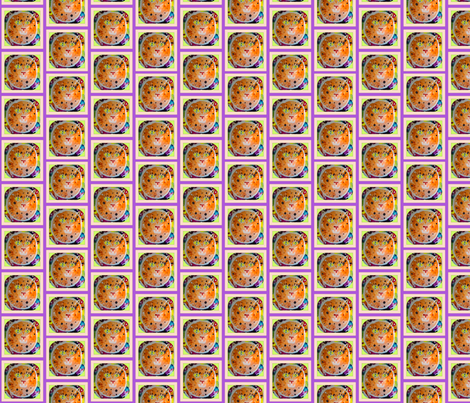 Orange Cat in Pink fabric by walkwithmagistudio on Spoonflower - custom fabric