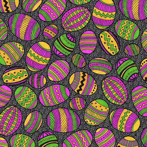 A Basketful of Painted Eggs fabric by robyriker on Spoonflower - custom fabric