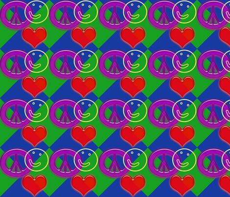 LovePeaceHappyBlueGreen fabric by custom_designer_trish on Spoonflower - custom fabric