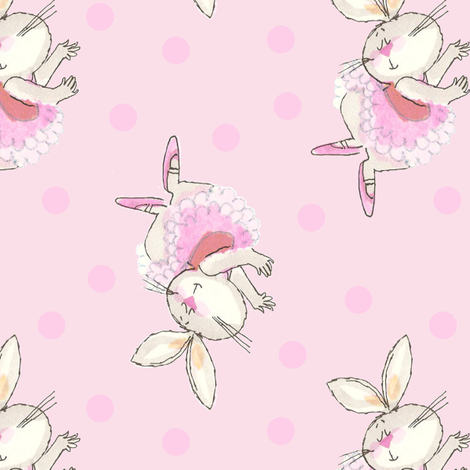 Ballet Bunny Pink Tutu Frou Frou Paris Bebe fabric by parisbebe on Spoonflower - custom fabric