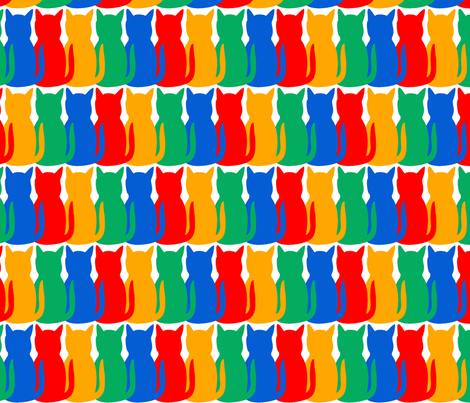 Crayon Cats on White fabric by racheljinks on Spoonflower - custom fabric