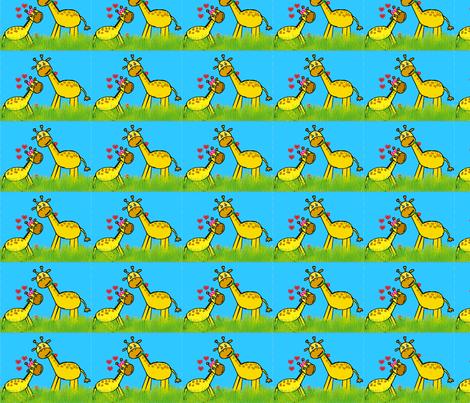 Baby Giraffe Love - Small fabric by brandi_ on Spoonflower - custom fabric