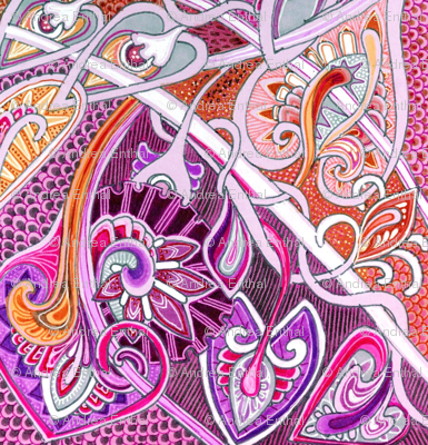 Old Fashioned Twisted Paisley Victorian (in pink and purple)