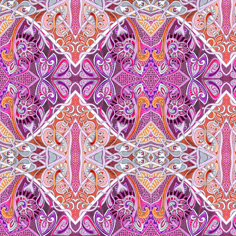 Old Fashioned Twisted Paisley Victorian (in pink and purple) fabric by edsel2084 on Spoonflower - custom fabric