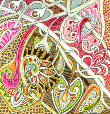 Old Fashioned Twisted Paisley Victorian (in orange/red/brown)
