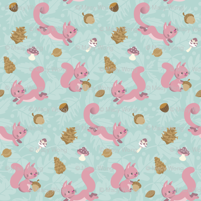 Pink squirrels and nuts