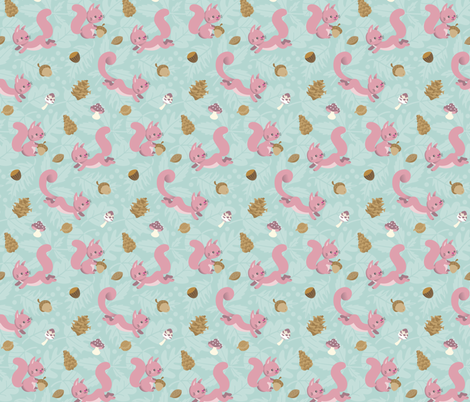 Pink squirrels and nuts fabric by macywong on Spoonflower - custom fabric