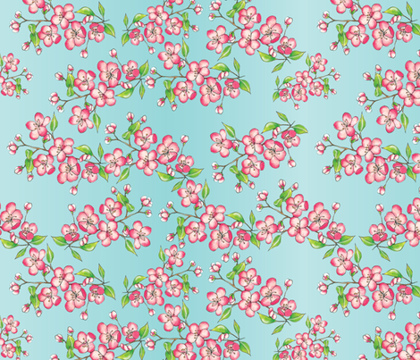 apple blossom fabric by thickblackoutline on Spoonflower - custom fabric