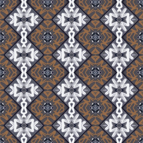 Gray, White, Sienna Tagging, snowflake variation