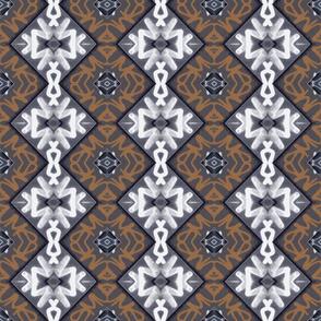Gray, White, Sienna Tagging, snowflake variation