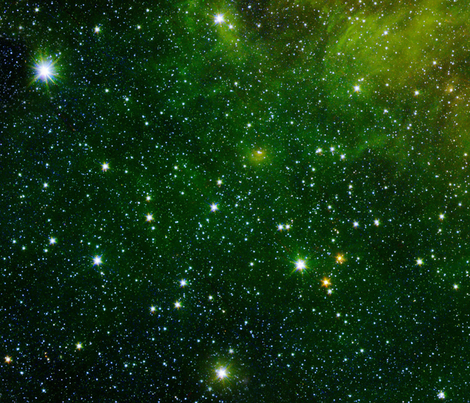 Green Star Scape fabric by jenuine on Spoonflower - custom fabric