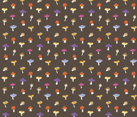 Mushroom colorful brown fabric by macywong on Spoonflower - custom fabric