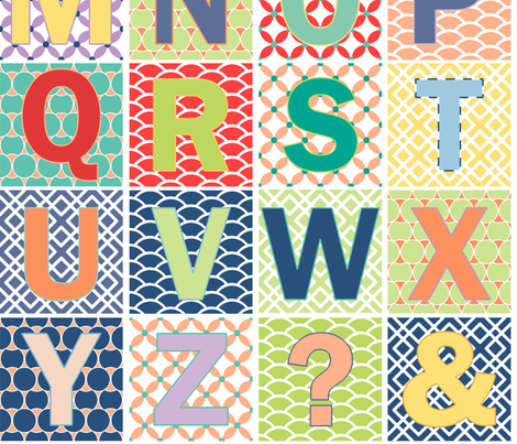 2 Yards Modern Alphabet fabric by fridabarlow on Spoonflower - custom fabric