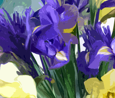 Irises and Daffodils Mean Spring fabric by susaninparis on Spoonflower - custom fabric