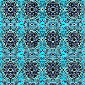 Teal blue flower tile