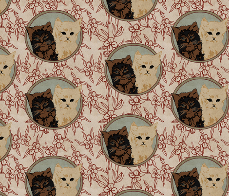 Vintage Cats fabric by bygarlands on Spoonflower - custom fabric