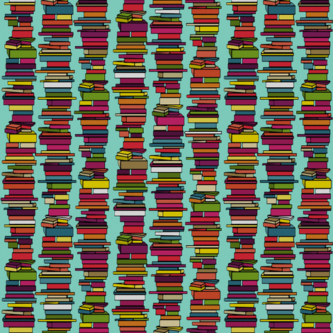 book stack mint fabric by scrummy on Spoonflower - custom fabric