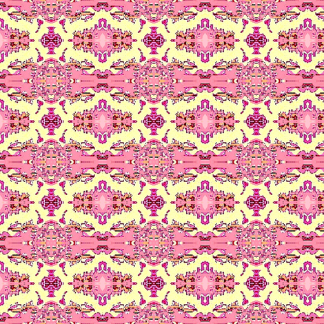 Pink flowers and yellow lace fabric by dk_designs on Spoonflower - custom fabric