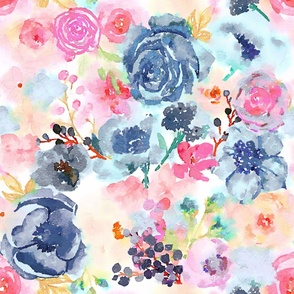 Watercolor floral in blush, navy, and magenta