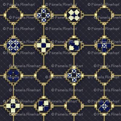 mosaic metal work blue