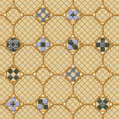 mosaic metal work golden