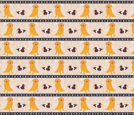 Primitive Golden Retriever and duck decoy - small border fabric by rusticcorgi on Spoonflower - custom fabric