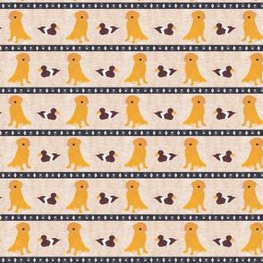 Primitive Golden Retriever and duck decoy - small border