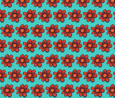 Red Flowers with Teal fabric by always_looking_up on Spoonflower - custom fabric
