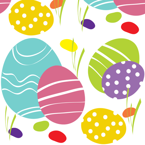 Spring Painted Eggs fabric by sarah_nussbaumer on Spoonflower - custom fabric