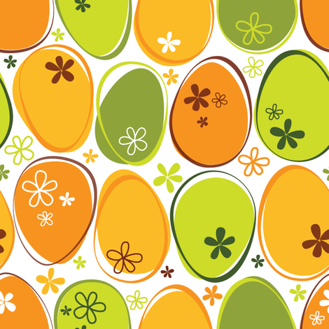 Daisy_Painted_Eggs__Lime_Green_and_Orange fabric by roarin_betty on Spoonflower - custom fabric