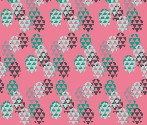 Eggs triangles in pink fabric by katarina on Spoonflower - custom fabric