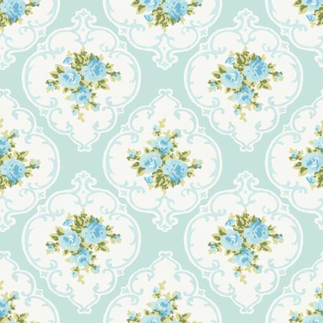 Aqua Cameo Roses by paris bebe fabrics fabric by parisbebe on Spoonflower - custom fabric