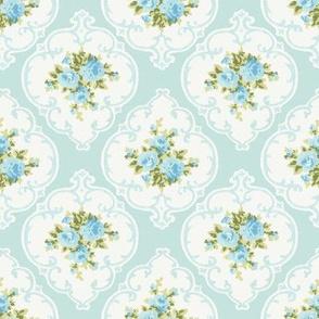 Aqua Cameo Roses by paris bebe fabrics