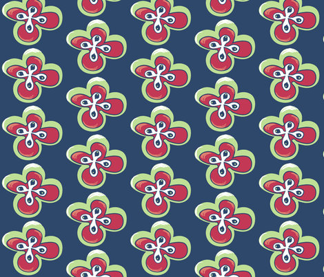 Painted floral on blue with green fabric by pinkbrain on Spoonflower - custom fabric