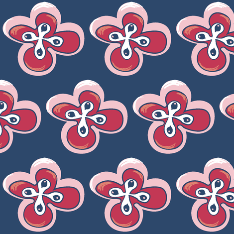 Painted floral on blue with pink-ch-ch fabric by pinkbrain on Spoonflower - custom fabric