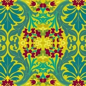 Art Nouveau22-teal/raspberry