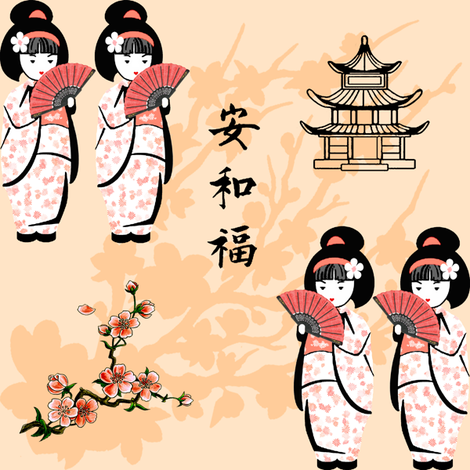 japanese girls - small fabric by krs_expressions on Spoonflower - custom fabric