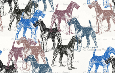 airedale terriers stencil fabric