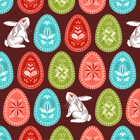 Sweet painted eggs fabric by cjldesigns on Spoonflower - custom fabric