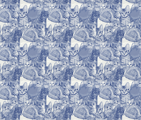 blue cats fabric by dogdaze_ on Spoonflower - custom fabric