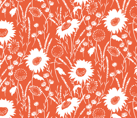 wildflowers - tangerine fabric by jillbyers on Spoonflower - custom fabric
