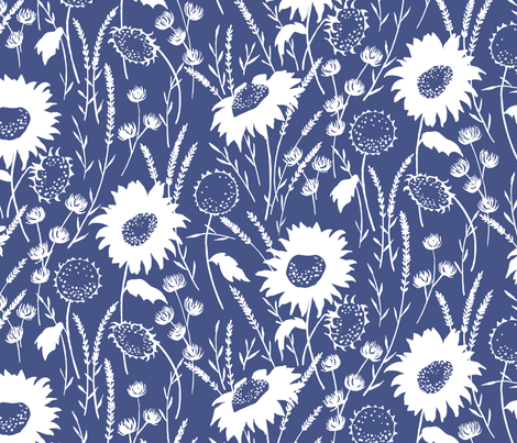 wildflowers - navy fabric by jillbyers on Spoonflower - custom fabric