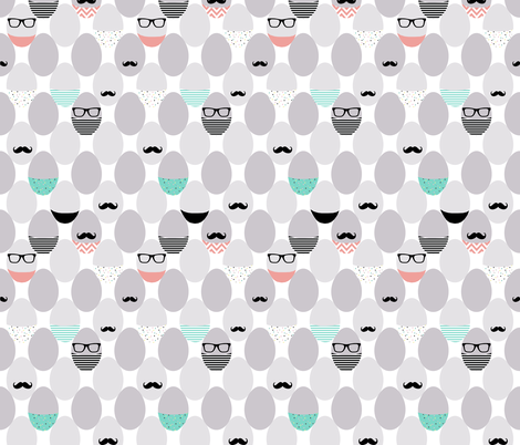 mustache geek eggs fabric by katarina on Spoonflower - custom fabric