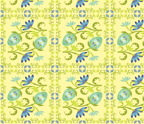 Egg Floral on PaleYellow fabric by linda_santell on Spoonflower - custom fabric