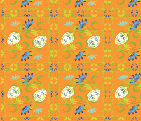 Egg Floral on Orange fabric by linda_santell on Spoonflower - custom fabric