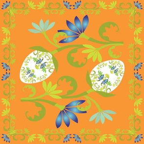 Egg Floral on Orange