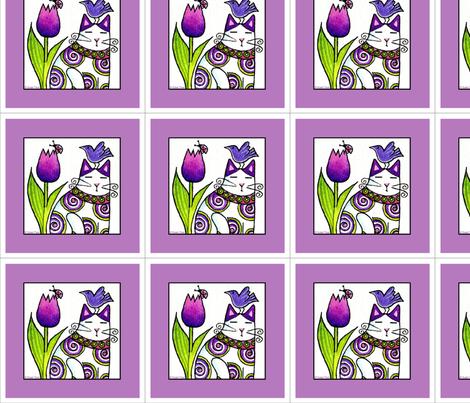 Bird Brain Cat No. 5 Six-inch Square fabric by susanfaye on Spoonflower - custom fabric
