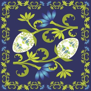 Egg Floral on Midnight Blue